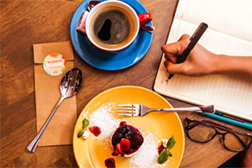 Take time to slow down, enjoy a hot cup of coffee and dessert, while you write, read or enjoy your favorite podcast